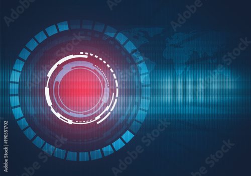 Fotobehang Wereldkaarten Abstract digital illustration of round technology interface concept with world map and binary code background. Red light spot.