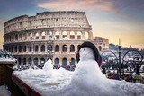 Colosseum with a snow man
