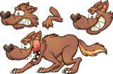 Cartoon brown wolf with different expressions. Vector clip art illustration with simple gradients. Some elements on separate layers.