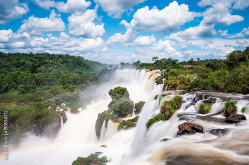 Iguazu Falls (Iguacu Falls) on the border of Argentina and Brazil. - 190556312