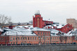 buildings on the Luzhnetskaya embankment in winter