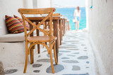 Beautiful typical greek outdoor cafe in Mykonos with amazing sea view on Cyclades islands - 190563586