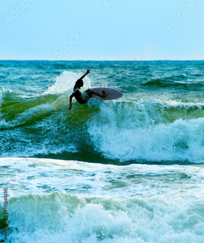Aluminium Bali Surfer in the ocean. Bali