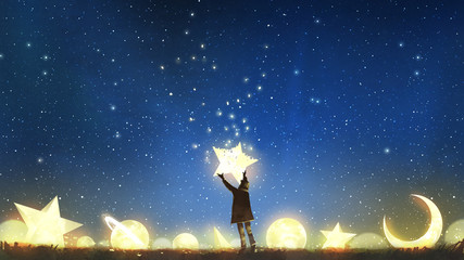 beautiful scenery showing the young boy standing among glowing planets and holding the star up in the night sky, digital art style, illustration painting © grandfailure
