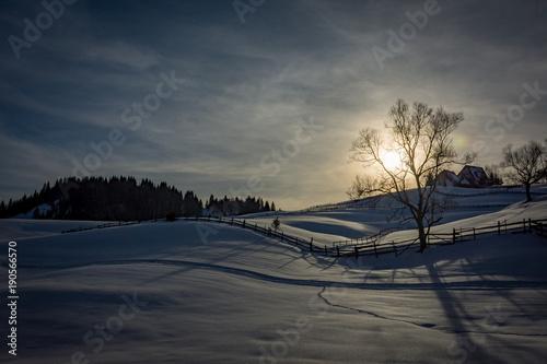 Keuken foto achterwand Nachtblauw Winter sunset