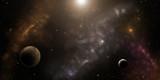 Stars, planets and nebulas. Sci-fi background