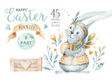 Hand drawn watercolor happy easter set with bunnies design. Rabbit bohemian style, isolated boho illustration on white. - 190568391