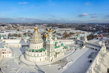 Aerial view of New Jerusalem monastery in winter, Istra, Moscow oblast, Russia