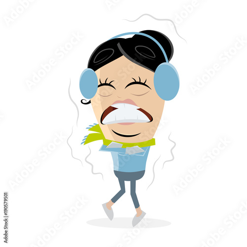 funny clipart of a freezing woman