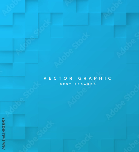 Naklejka Abstract square blue background, 3d geometric minimalistic cover design, mosaic blocks pattern with copy space. Vector graphic.