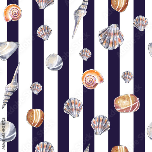 Materiał do szycia Sea shells, striped seamless black pattern