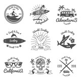 Set of Vintage Emblem. Surfing. Vector illustration - 190594302