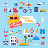 set of flat icons for summer holidays - 190594555