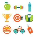 set of vector flat icons for diet and fitness - 190594903