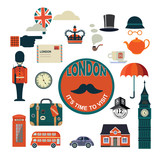 set of vector flat style London icons - 190594908