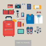 Time to travel vector flat background - 190594966