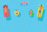 top view vector banner with sunbathing family - 190594980