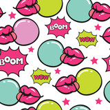trendy pop art seamless vector pattern with bubblegum - 190595154
