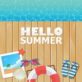vector background template for summer vacation with wooden pier - 190595184