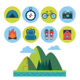 vector set of flat touristic icons - 190595346