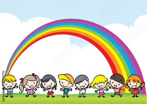 Tuinposter Wit kids with rainbow background