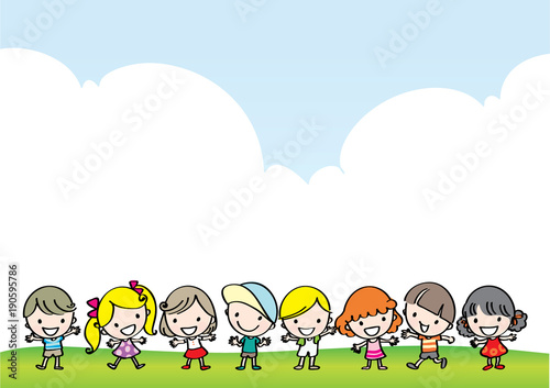 Aluminium Lichtblauw kids with rainbow background