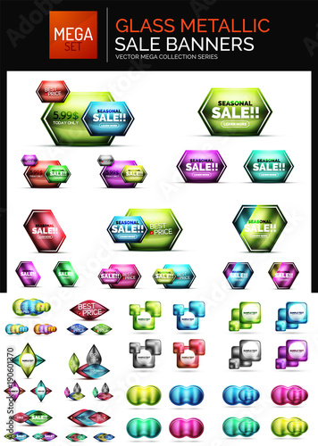 Metallic glossy color abstract shapes, vector banner layouts, buttons. Mega collection © antishock