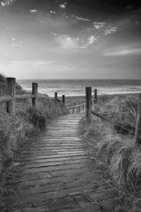 Beautiful black and white sunrise landscape image of sand dunes system over beach with wooden boardwalk © veneratio