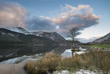 Stunning sunrise landscape image in Winter of Llyn Cwellyn in Snowdonia National Park with snow capped mountains in background - 190608148