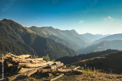 Foto op Canvas Donkergrijs Amazing landscape, blue sky and woods