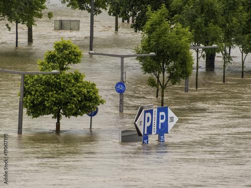 In de dag Rivier flood 2013, linz, austria