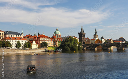 Deurstickers Praag View of Prague old town and Charles Bridge