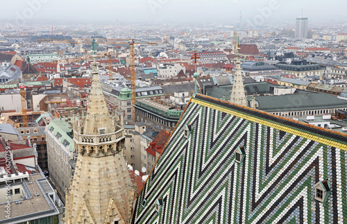 Staande foto Wenen View of Vienna over Saint Stephen Cathedral roof