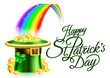 Leprechaun Hat Rainbow Happy St Patricks Day Sign - 190621721