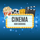 Cinema Banner. Movie watching with popcorn and 3D glasses