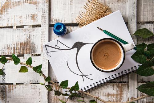 Fotobehang Chocolade Draw a bird