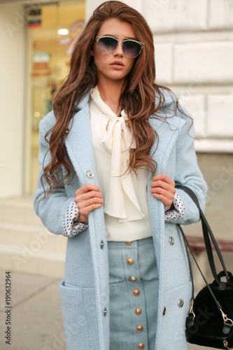 beautiful girl in elegant clothes walking on the street