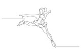 Continuous line drawing. Illustration shows a skater performs exercises. Figure skating. Winter sport. Vector illustration