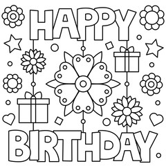 Happy Birthday. Coloring page. Vector illustration.