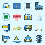 icons set about Travel. with sailboat, scooter, photo camera, roller skate, shower and taxi - 190638321