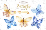 Set of watercolor boho butterfly. Vintage summer isolated spring art. Watercolour illustration. design wedding card, insect, flower beauty banner. Bohemian decoration. - 190638937