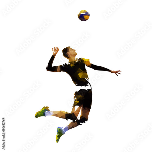 Polygonal volleyball player serving ball, geometric vector illustration