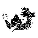 red dragon rice dumpling paddling festival chinese vector illustration black and white design - 190643765
