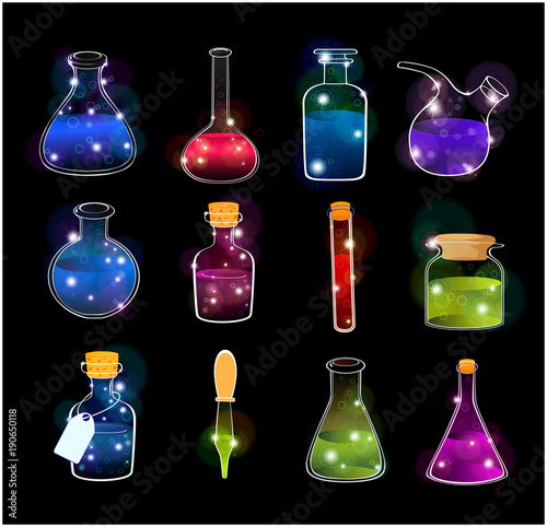 Fotobehang Babykamer Set of Laboratory Flasks on Black Background for Computer Games