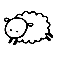 cartoon sheep in hand drawn style. Vector illustration