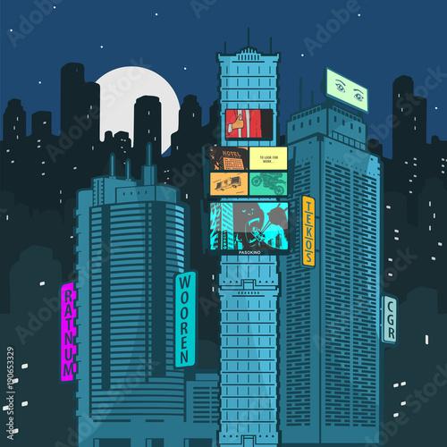 Papiers peints Bleu nuit Vector Illustration Urban Landscape At Night