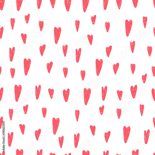 Cute hand drawn hearts seamless vector pattern. - 190655147