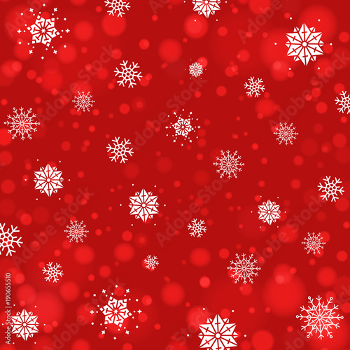 Abstract Christmas background with snowflakes and bokeh background. New year lights.