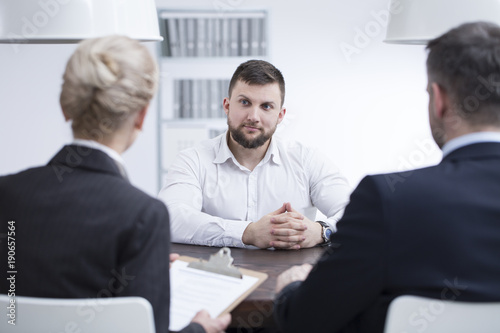 Wall mural Self-confidence man during job interview