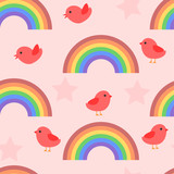 Seamless baby pattern with birds and rainbows